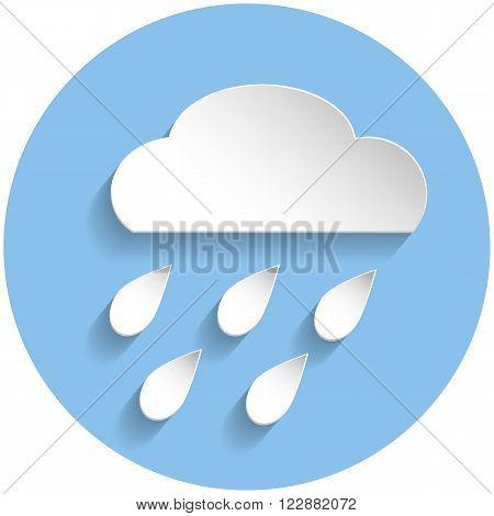 Raining Cloud Icon, Paper Style