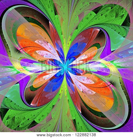 Multicolored asymmetrical fractal flower in stained glass window style. Element of design. You can use it for invitations, notebook covers, phone case, postcards, cards and so on. Artwork for creative design.