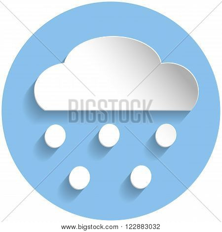 Snowing Cloud Icon, Paper Style