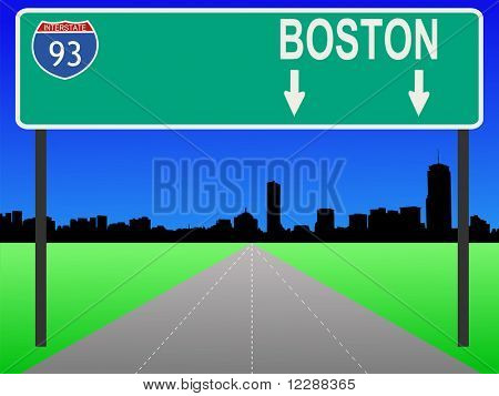Boston Skyline und die interstate 93 unterzeichnen Abbildung JPG