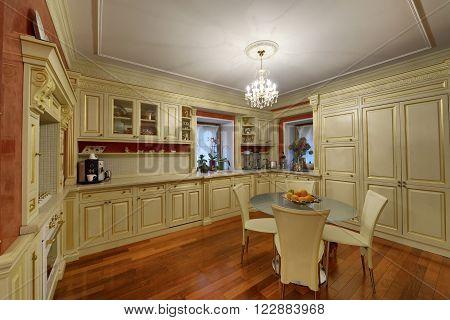luxury kitchen interior in luxury country house