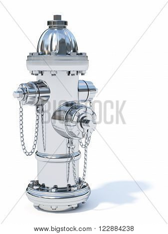 3d illustration of chrome fire hydrant isolated on white background