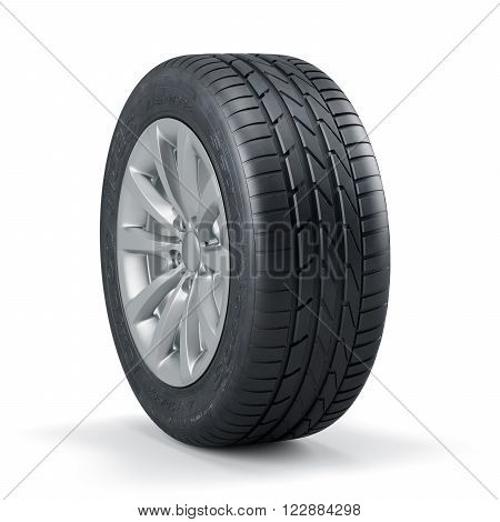 Single New Unused Car Tire With Rim Isolated