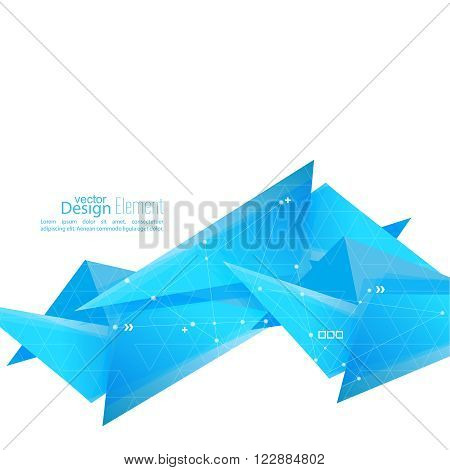 Abstract background with geometric shapes angled. Concept  technology and dynamic motion. Digital Data Visualization. For cover book, brochure, flyer, poster, magazine, booklet, leaflet. techno wave