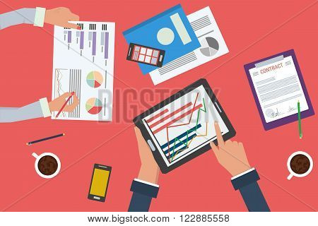 Vector concept of working process. Business analytics and financial audit. Brainstorm and calculations. Top view of desk with two workers hands, tablet, documents, phone. Flat style