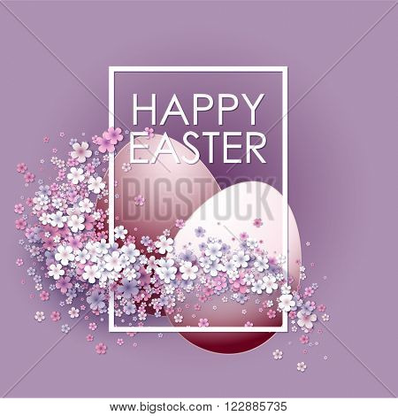 Happy Easter background with frame egg and flowers