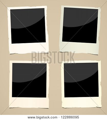 Collection of black old instant photos with frame are on brown surface.