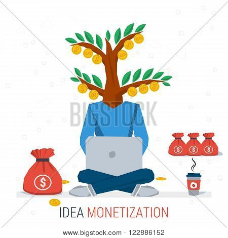 Vector infographic business idea monetization. Man worker sits with computer and coffee - money tree instead of head. Flat concept process of idea creation and monetization. Flat style. Infographics