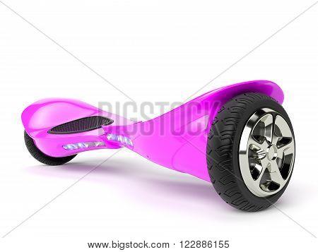 Pink color hoverboard on white background. 3D rendering