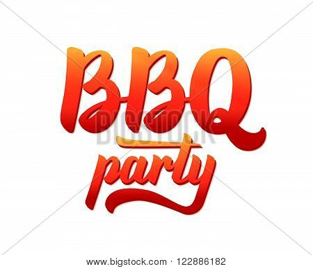BBQ party logo. Barbecue text lettering label. Close-up of isolated BBQ party typographic design. Vector illustration