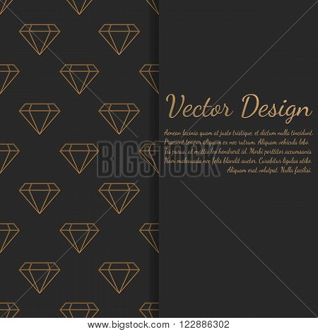 Card or invitation with diamonds pattern. Vector chic elements. Luxury pattern. Wrapping paper design.