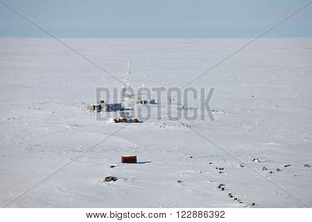 Abandoned military antenna in Arctic, aerial view