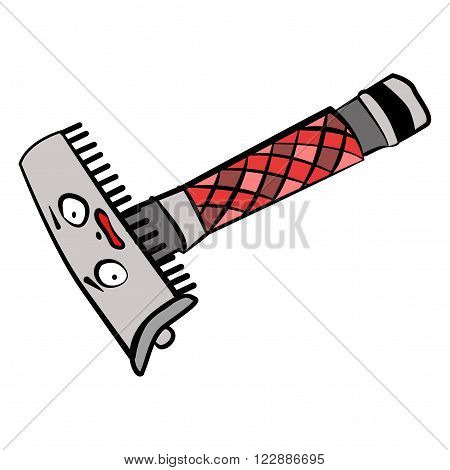 Funny doodle straight razor ready to shave your beard vector illustration