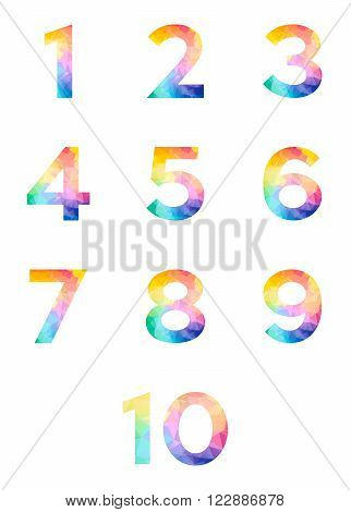 Abstract bright rainbow polygon number alphabet colorful font style. one two three four five six seven eight nine ten zero digits. creative vector illustration. 3d geometric numeral set design.