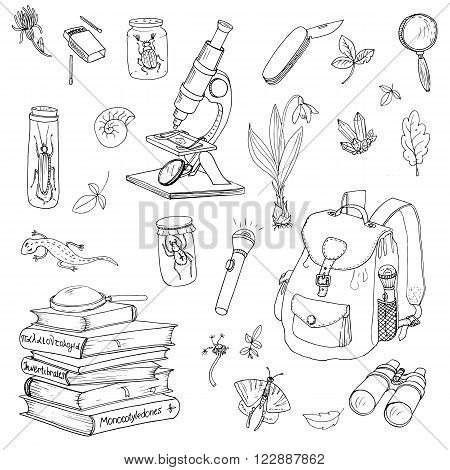vector set of scientist, traveler and explorer objects, encyclopedia books, backpack and microscope
