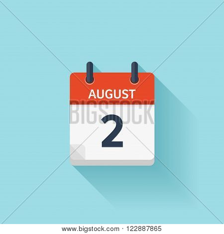 August 2. Vector flat daily calendar icon. Date and time, day, month. Holiday.