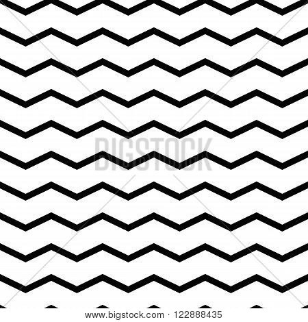 Vector zig zag seamless pattern. Black and white background