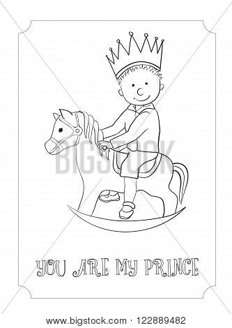 Kid cartoon cute prince outline card. Vector coloring page for boy and girl. Hand-drawn, doodle style. Design for t-shirt, children accessories, banner.
