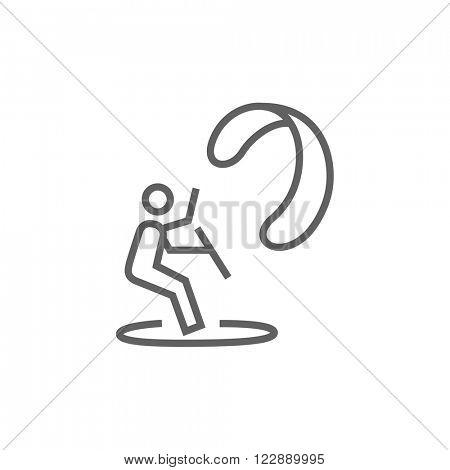 Kite surfing line icon.