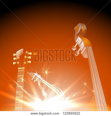 Vector illustration of jazz instruments in the world, jazz guitar, saxophone and contrabass.