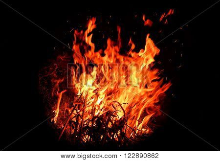 red hot blazing fire on black background