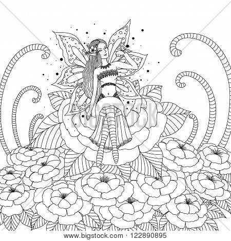 Fairy girl playing with butterfly in the flower forest design for coloring book for both adult and children