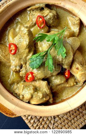 Chicken Korma, also spelled kormaa, qorma, khorma, kurma or qovurma, is a dish originating in South Asia consisting of meat or vegetables braised in a spiced sauce made with yogurt, cream, nut or seed paste.
