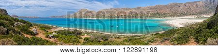 Panoramic view of Balos Lagoon and beach from the Cape Tigani, Crete, Greece
