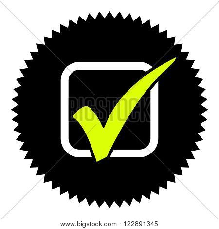 Isolated Black round Button shows checkmark symbol