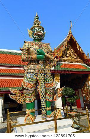 Statue of a Tosakanth - giant demon in Wat Phra Kaew in Bangkok