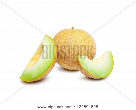 Melon honeydew and two melon slices. Whole ripe fresh melon honeydew and two melon slices isolated on white background