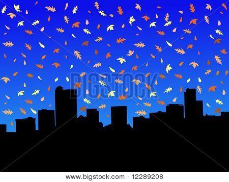 Denver skyline in autumn with falling leaves illustration