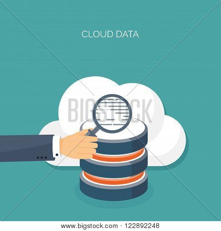 Vector illustration. Flat cloud computing background. Data storage network technology. Multimedia content , web sites hosting. Memory, information transfer.