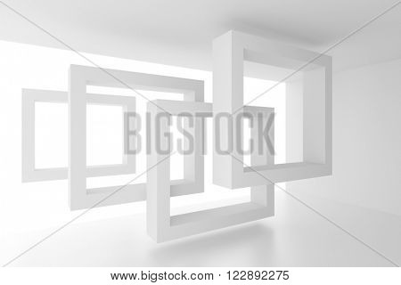 3d Illustration of Abstract Interior Background. White Geometric Design
