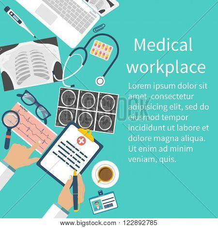 Medical workplace Flat design vector. Medical concept background with copy space. Doctor at table examines documents, diagnoses and writes a prescription.