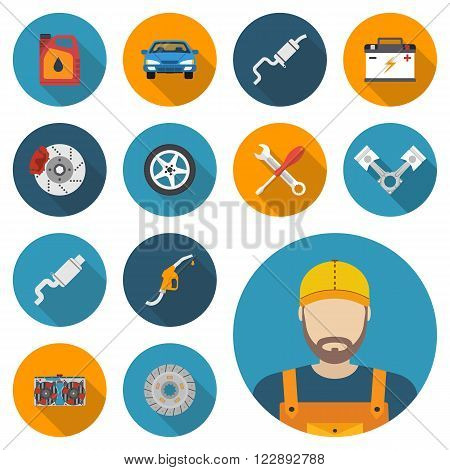 Car parts set of icons auto spare parts for repairs. Vector illustration. Engine wheel piston brake battery cooling absorber exhaust radiator refueling nozzle oil canister. Icon mechanic.