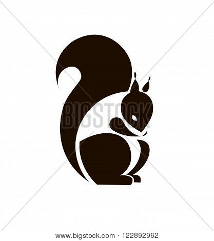Silhouette Squirrel. Template Logo company. Vector sign for your design.