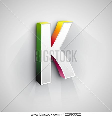 Abstract Logo Design Template. Creative 3d Concept Icon. Letter K Stylization