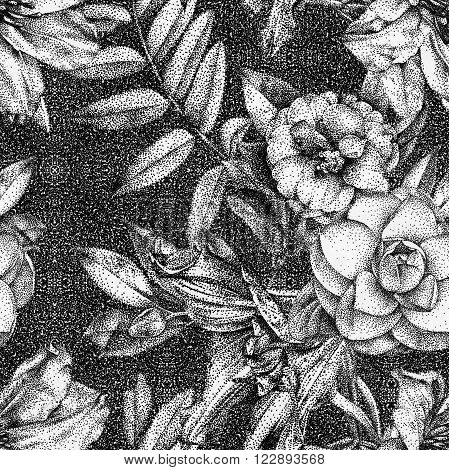 Seamless pattern with different flowers and plants drawn by hand with black ink. 