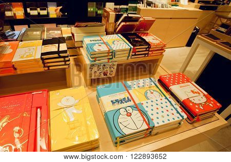 HONG KONG, CHINA - FEB 13: Doraemon cat from Japanese manga series on the cover of Moleskine notebook on February 13, 2016. Moleskine is Italian manufacturer founded in 1997 by designer Sebregondi