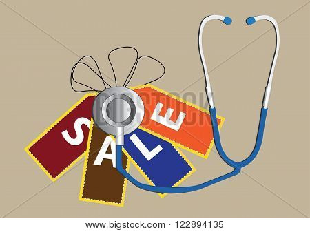 business diagnose using stethoscope to analyze sale. Vector Illustration