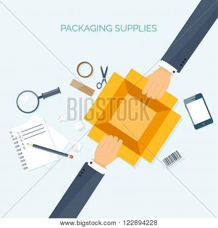 Flat vector illustration backgrounds set. International delivery , worldwide postage. Emailing , online shopping. Envelope , package.