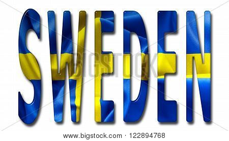 Sweden word with a beveled flag texture on an isolated white background with a clipping path with and without shadows