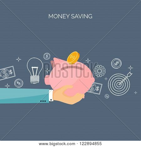Flat vector illustration backgrounds set. Piggy bank, deposit. Money  saving, money making. Web payments. World currency. Internet store, shopping. Pay per click. Business.