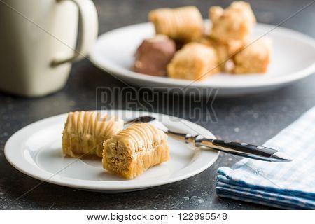 sweet baklava dessert on plate