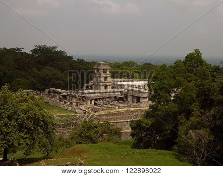 The Mayan palace complex as seen from a pyramid in the Palenque archeological site of Chiapas Mexico.