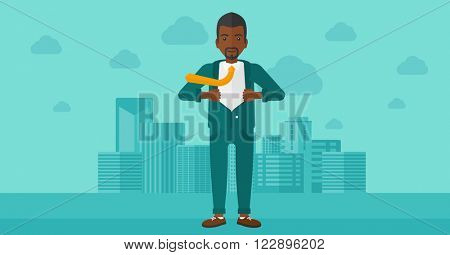 Businessman taking off jacket.