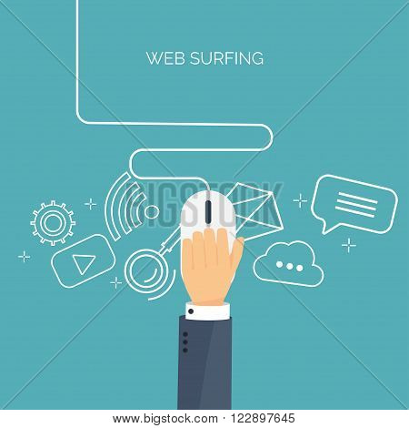 Vector illustration. Web surfing. Internet. Mouse. Chatting, social network.