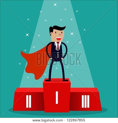 Cartoon super businessman winner in black suit and red cape standing on first place on a podium. vector illustration in flat design on green background