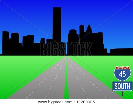 empty freeway leading to Houston skyline illustration